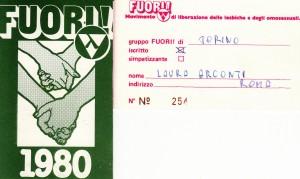 TESSERA del FUORI ! 1980